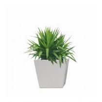 White Round Polystone 7 Inch Planter