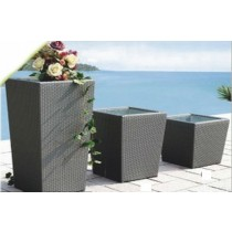 Wicker Gray 44 cm Height Outdoor Rattan Planter