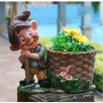 Smiling Worker Polyresin Garden Flower Planters