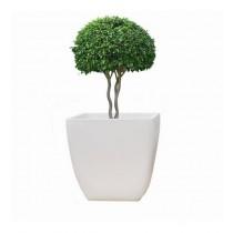 White Round Polystone 12 Inch Planter
