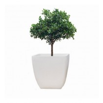 White Finish Polystone 10 Inch Planter