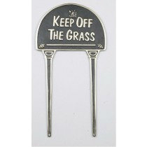 Solid Brass Keep Off The Grass Black Garden Tag