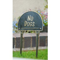 Solid Brass No Dogs Garden Tag