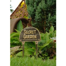 Solid Brass Secret Garden Cast Black Garden Tag