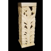 Square Carved Leaf & Floral Design Sandstone Pedestal