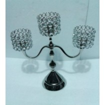 Square Crystal 3 Arm T-Light Candelabras