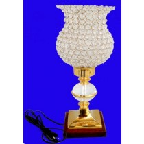 Square Lamp With Crystal Shade, 19 Inches