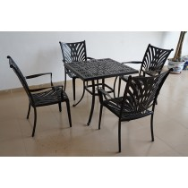 Square Matte Black Aluminum Table & Chair Set