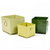 Square Shape Metal Pots with Handle Set of 3 Pcs