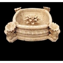 Square Water Bowl With Shell & Flower Shape Fountain
