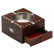 Square Wood Ash Tray With 4 Cigarette Holder Slots