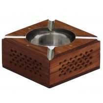 Square Wooden Ash Tray With 4 Cigarette Slots