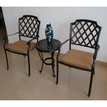 Stack able Aluminium Table & Chair Set With Brown Cushion