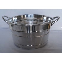 Silver Galvanized Metal Planter With Handle