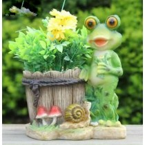 Standing Frog With Planter Garden Sculpture
