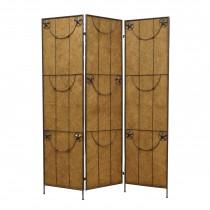 Star Design 3-Panel Wood and Metal Screen