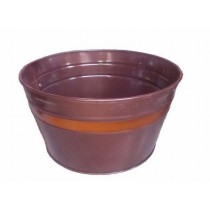 Brown Tub Style Galvanized Metal Planter
