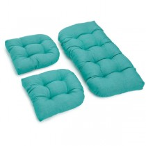 Stylish Aqua Blue 3 Piece U Shaped Cushion Set