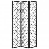 Stylish Black Metal Folding 3 Panel Screen- 1