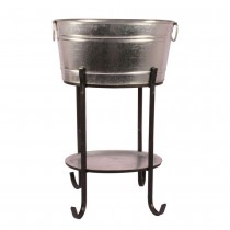 Stylish Galvanized Beverage Tub With Tray and Stand