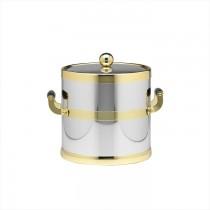 Stylish Ice Bucket With Wood Side Handle