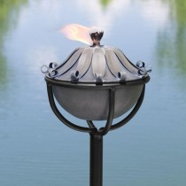 Stylish Leaf Design Zinc Garden Torch With Stand