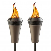 Stylish Metal Finish Garden Torch Set of 2 Pcs