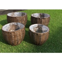 Stylish Rattan Set of 4 Round Planters - 3