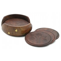 Stylish Round Wooden Coasters Set of 6 Pcs