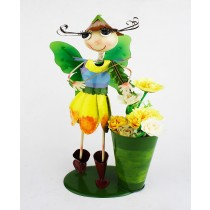 Tall Girl Playing Violin 23cm Metal Planter