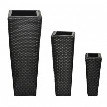 Tall Square Rattan Planter Set of 3 Pcs
