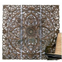 Teal Lotus Wooden Wall Panel (60 x 60  cm)