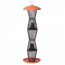 Terra Cotta and Black Finish Metal Tube Bird Feeder