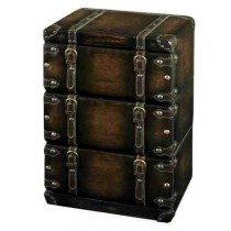 Three Drawer Storage Leather Trunk