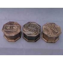 Three Embossed Octagonal Natural Wood Box