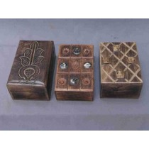 Three Natural Design Rectangle Wood Box