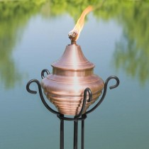 Trellis Floor Stand With Antique Copper Garden Torch
