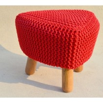 Triangle Red Wooden Pouf