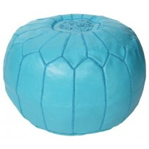 Turquoise Leather Cover Floor Pouf
