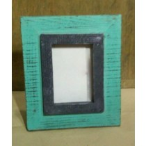 Turquoise Wooden Texture Photo Frame