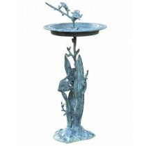Turtle With Fish Sundial Design  Birdbath