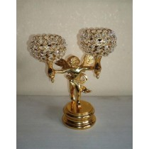 Two Arm Angel Holding Votive Holder Gold Color