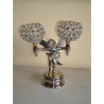 Two Arm Angel Holding Votive Holder Silver Color