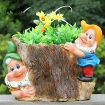 Two Cute Gnome Garden Flower Pot(22.1 X 18.7  X 18.2 CM)