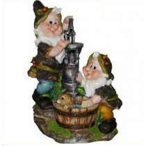 Two Cute Gnome With Water Pump