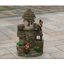 Two Garden Gnome House Sculpture