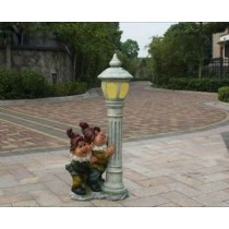 Two Gnome Holding Lamp Garden Sculpture
