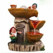 Two Gnome House Shape Water Fountain