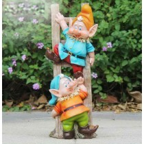 Two Gnome On Ladder Garden Sculpture
