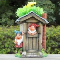 Two Gnome With Tall House Garden Planter